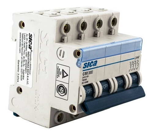 termomagnética tetrapolar 50 amp llave térmica 4 x 50 sica