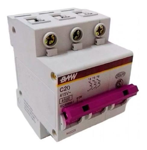 termomagnetica tripolar 20a llave termica 3x20 baw 4,5ka