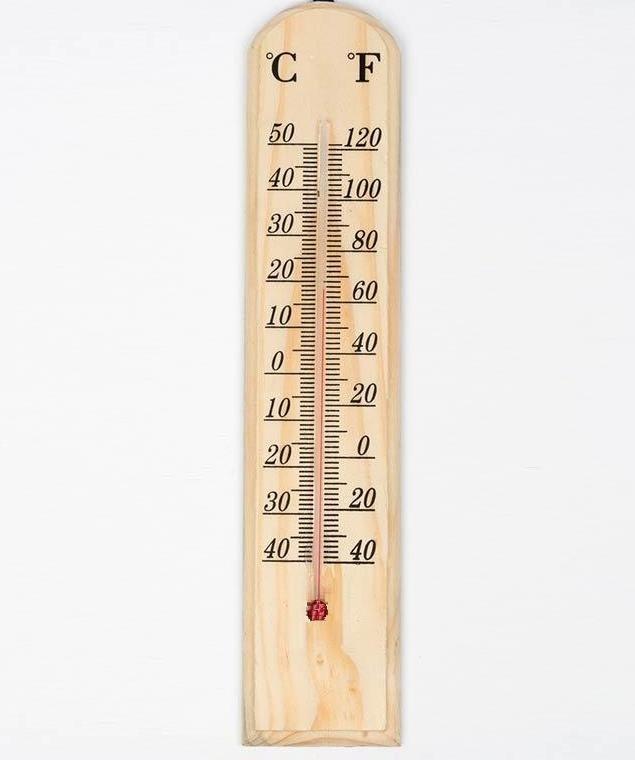 Termometro ambiental de pared en madera interior exterior - Termometro de pared ...