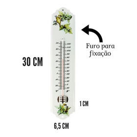 Termômetro Ambiente De Parede Em Metal Branco Incoterm