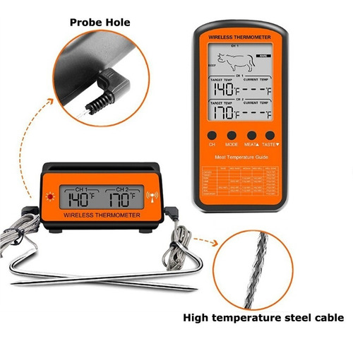 termometro culinario profissional sem fio com 2 sonda alarme