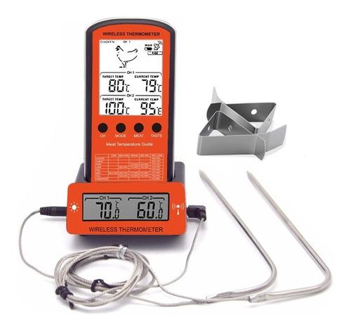 termometro culinario relogio churrasco forno cozinha 2 sonda