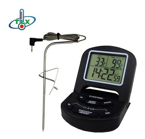 termometro de cozinha culinario digital com sonda alarme
