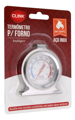 termometro de forno 300° analógico culinario inox até 60 min