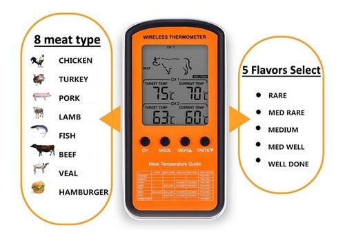 termometro digital culinario sem fio com 2 sondas alarme pro