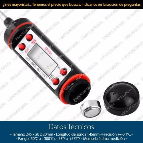 termómetro digital de sonda para cocina alimentos líquidos