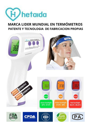 termómetro digital infrarrojo fda quito provincia+visor+pila