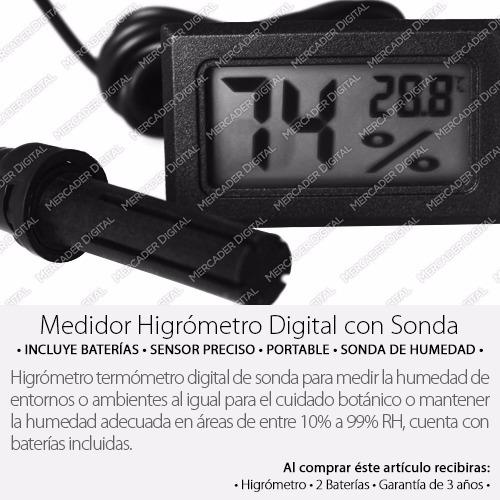 termómetro higrómetro digital de sonda medidor de humedad