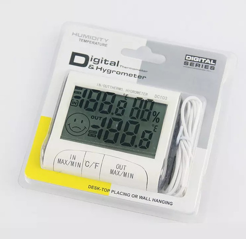 termometro higrometro reloj / fecha pantalla lcd grande