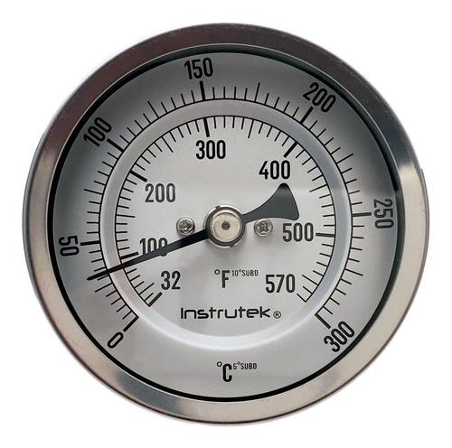 termómetro horno 3 plg 0 a 300°c, vástago 6 plg, rosca 1/2