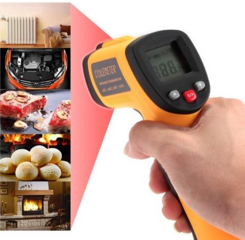 termómetro infrarrojo digital industrial gm320 visión láser