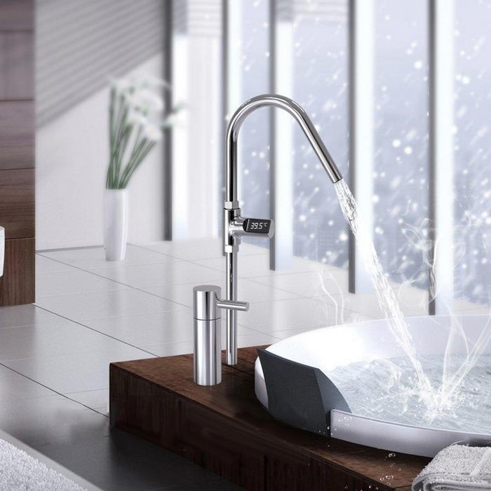 term/ómetro de ducha giratorio de 360 grados con manguera de 1//2 pulgadas Term/ómetro de ba/ño con pantalla LED temperatura de ducha de agua sin bater/ía con rango de 5-85 grados para ba/ño