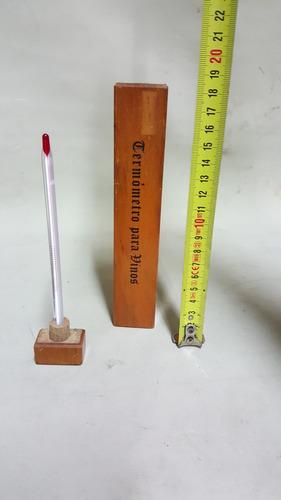 termometro para vinos estuche en madera y grados