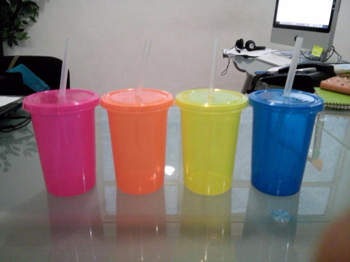 Termos vasos con popote de colores fluorescentes ne n - Vasos de colores ...