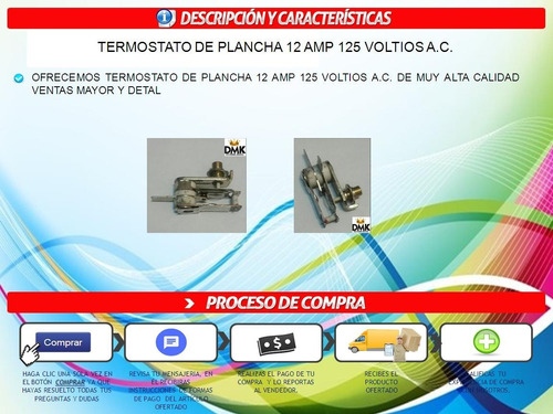 termostato de plancha de 12 amp 125 voltios a c  ( 4 uvas )