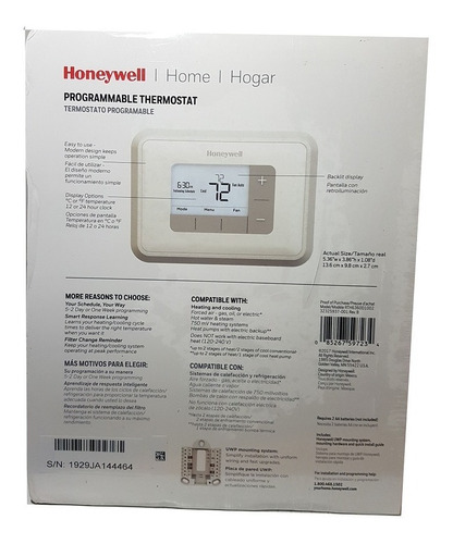termostato honeywell rth6360d  programable 2 etapas