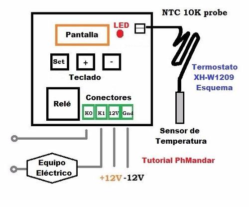 termostato w1209  con sensor temperatura, manual, multiusos