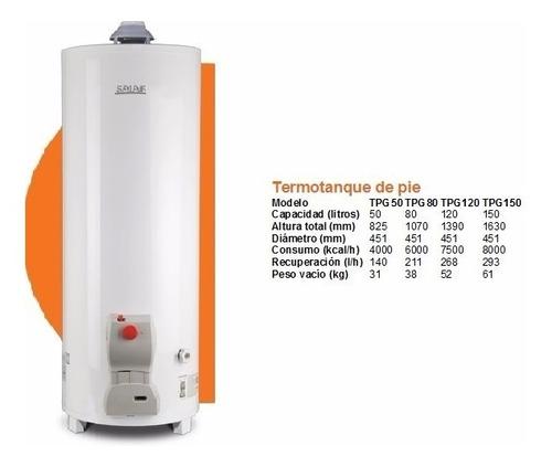 termotanque 50 litros saiar a gas carga superior