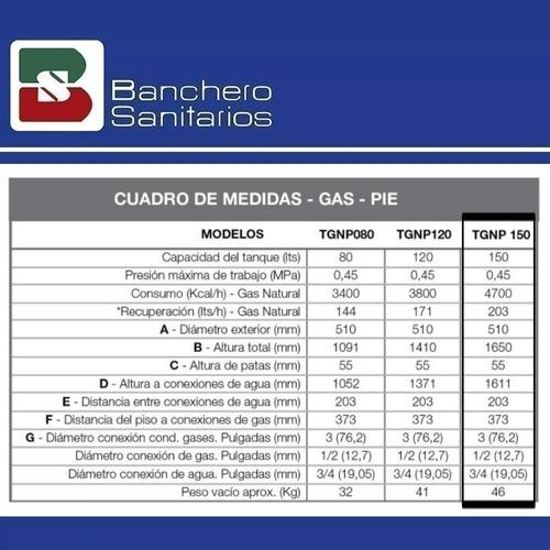 termotanque a gas rheem de 150 lts
