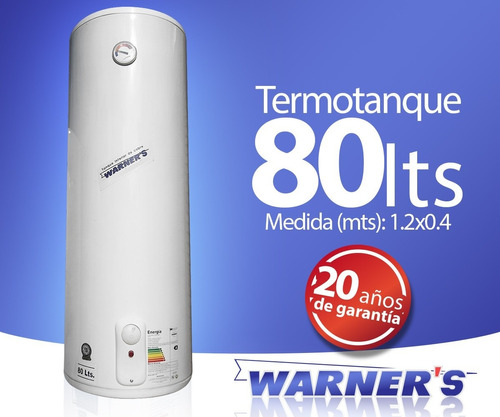 termotanque calefon tanque cobre 80 lts warners punion