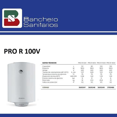 termotanque eléctrico ariston pro r 100 lts