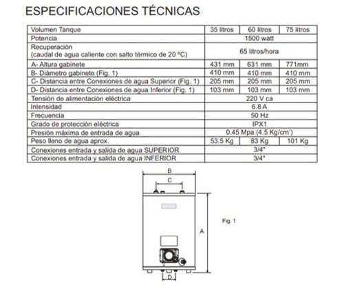 termotanque electrico eskabe  35 lts superior inferior