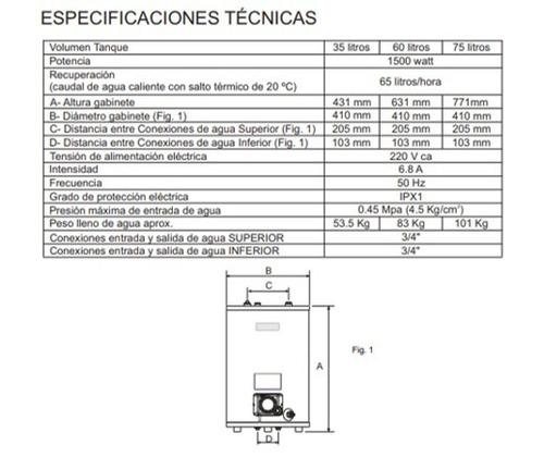 termotanque electrico eskabe  35 lts. superior/inferior