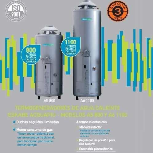 termotanque eskabe acquapiu a5 800 lts/h gn