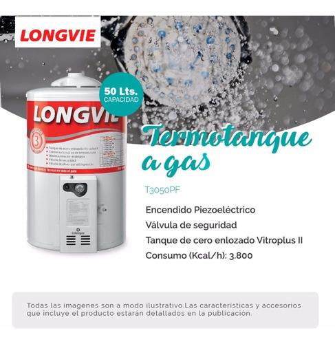 termotanque gas longvie t3050pf 50l pie conexion superior pc