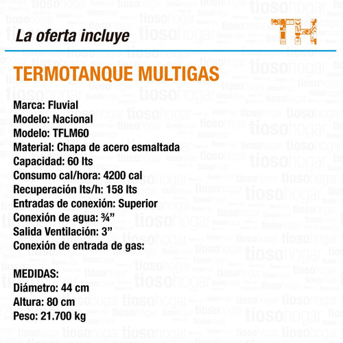 termotanque multigas fluvial tflm 60 lts tcp sin interes