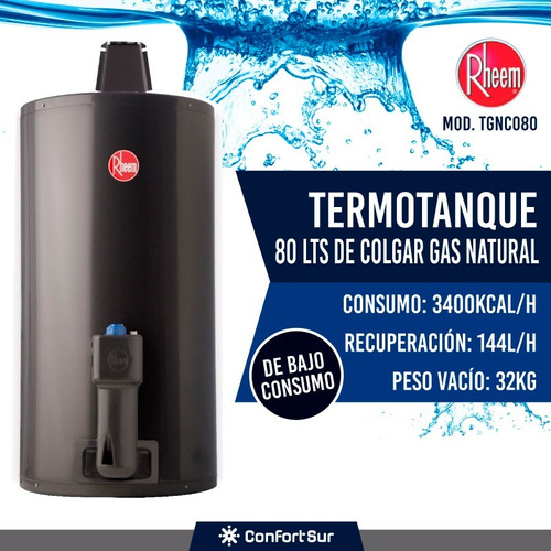termotanque rheem gas natural 80 l colgar tgnc080 envío **9