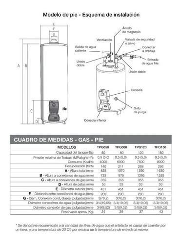 termotanque saiar tpg120msa multigas 120l pie digiya