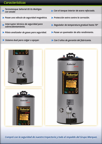 termotanque señorial 85 litros gas linea family