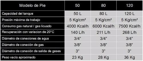 termotanque sherman 120 litros pie