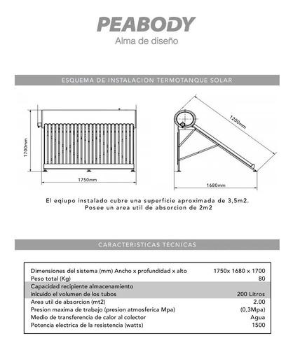 termotanque solar 200 litros peabody garantia oficial anodo