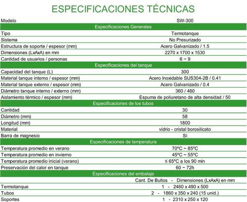 termotanque solar 300 lts., kit eléctrico, timer, antisarro