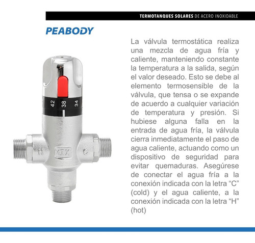 termotanque solar peabody 200 l acero inox+kit electrico