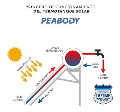 termotanque solar peabody 200 litros acero inoxidable anodo