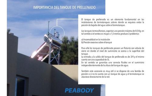 termotanque solar peabody 200l + kit elec + válvula + cuotas