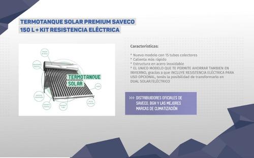 termotanque solar premium saveco 150l + kit resis.electrica