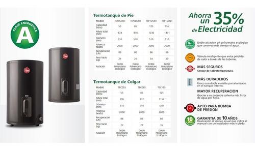 termotanques de colgar rheem electrico 55 litros conexion inferior
