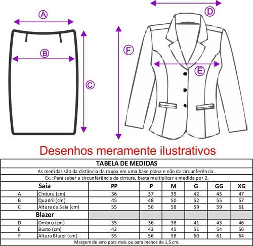 terninho blazer s/ forro, 3 botões com saia, risca de giz