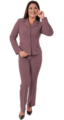 terno feminino blazer sem forro e calça - vinho  e colorido