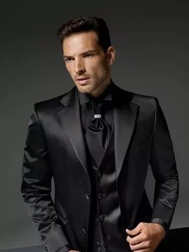 terno masculino preto slim poliviscose encerado via do terno