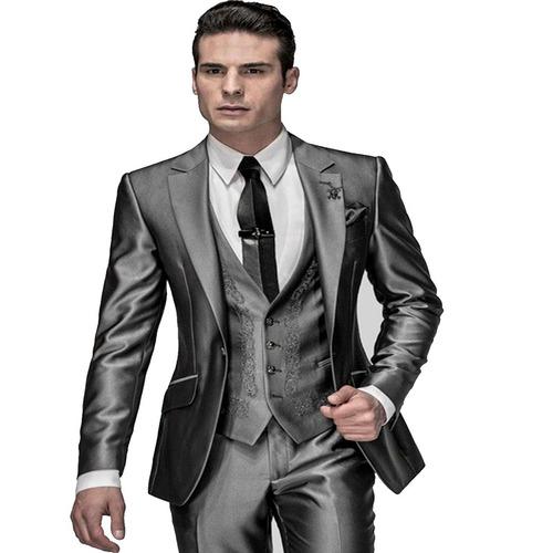 terno masculino slim super brilho acetinado +pronta entrega