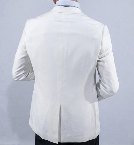 terno owen - branco lapela preta - slim c/colete