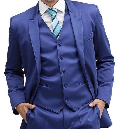 terno slim fit azul royal via santony collection na gazbu