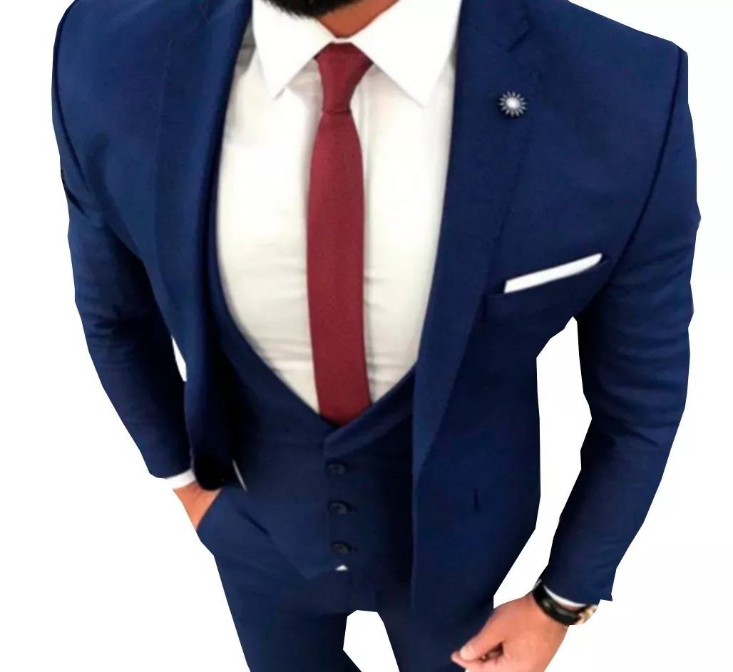 41424099ed terno slim masculino azul marinho - destaque especial. Carregando zoom.