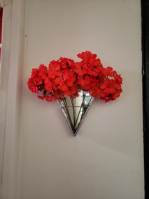 Terrario Colgante Triangular Espejado Vidrio Plantas Flores