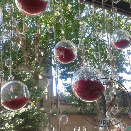 terrarios colgantes globos y fanales con manija vidrio n°2